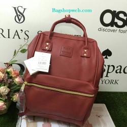 กระเป๋าเป้ Anello polyurethane leather rucksack Red Wine Mini