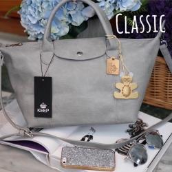 กระเป๋า KEEP ทรง longchamp รุ่น Duo Sister Classic - Light grey