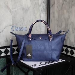 กระเป๋า KEEP Classic Longchamp Duo Sister Glitter ROYAL BLUE