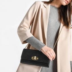 กระเป๋า CHARLE & KEITH TURN LOCK WALLET 2016 ใช้ถือหรือสะพายทรงคลัช ล่าสุดชนช็อป! วัสดุหนัง Saffiano สวยหรูสไตล์ PRADA สำเนา