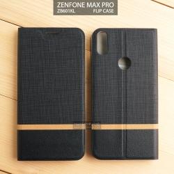 เคส Zenfone Max Pro (M1) เคสฝาพับหนัง PVC มีช่องใส่บัตร สีดำ