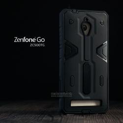เคส Zenfone GO (ZC500TG) เคส HYBRID BUMPER 2 ชั้น (นิ่ม+แข็ง) พร้อมขอบกันกระแทก สีดำ - สีดำ