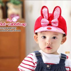 HT095••หมวกเด็ก•• / หมวกแก๊ปกระต่าย [สีแดง]