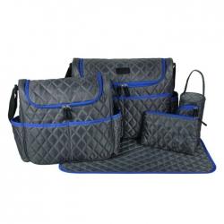 Ecosusi กระเป๋าสัมภาระคุณแม่ พร้อมอุปกรณ์รวม 5 ชิ้น มีกระเป๋าสะพายใหญ่สองใบ แผ่นรองเปลี่ยนผ้าอ้อม กระเป๋าใส่ขวดนม กระเป๋าใส่ของ (ผิวเย็บบุฟองน้ำนุ่ม)