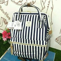 กระเป๋า Anello Casual Fabric Square Shaped Rucksack Stripe Navy blue