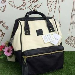 กระเป๋าเป้ Anello Polyester Canvas Rucksack Classic สีขาว-ดำ วัสดุผ้าแคนวาสอย่างดี รุ่นคลาสสิกพิเศษมีซิปด้านหลัง