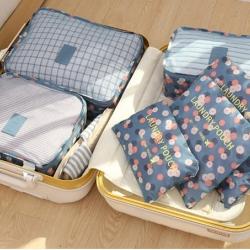 ชุดจัดกระเป๋าเดินทาง 6 ใบ จัดระเบียบเสื้อผ้าในบ้าน กันน้ำ ใส่เสื้อผ้า ชุดชั้นใน เครื่องสำอาง มี 5 สีให้เลือก