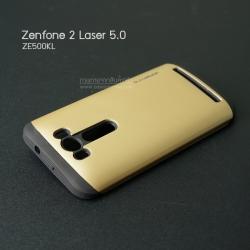 เคส Zenfone 2 Laser 5.0 (ZE500KL) เคส Hybrid Bumper เคสนิ่มพร้อมขอบบั๊มเปอร์ (Hybrid Armor) สีดำ/ทอง