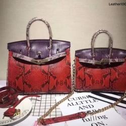กระเป๋าถือสะพาย ขนาด 25 เบอกิ้นปั้มลายงานหนังวัวแท้ สีทูโทน (Leather100%)