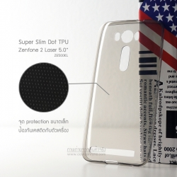 เคส Zenfone 2 Laser (5 นิ้ว) | เคสนิ่ม Super Slim TPU บางพิเศษ พร้อมจุด Pixel ขนาดเล็กด้านในเคสป้องกันเคสติดกับตัวเครื่อง (ดำใส)