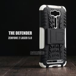 เคส Zenfone 2 Laser (5 นิ้ว) กรอบบั๊มเปอร์ กันกระแทก Defender สีขาว (เป็นขาตั้งได้)