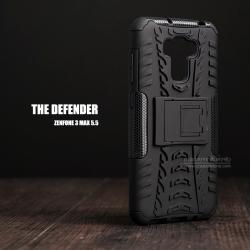 """เคส Zenfone 3 Max 5.5"""" (ZC553KL) เคสบั๊มเปอร์ Defender กันกระแทก มีขาตั้งในตัว สีดำ"""