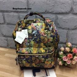 กระเป๋าเป้ Anello x Legato Largo Botanical & Cat nylon Cap fasteners Backpack Black Button รุ่นคลาสสิค
