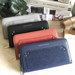 CHARLES & KEITH Flannel Detail Long Wallet 2017 มี 4 สี ให้เลือก