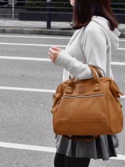 กระเป๋าเป้ ANELLO 2 WAY PU LEATHER BOSTON BAG (Regular)----- Camel Color