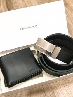 CALVIN KLEIN Genuine Leather Belt & Wallet Limited Edition Gift Set free กล่อง , ถุงกระดาษ , ที่เจาะ