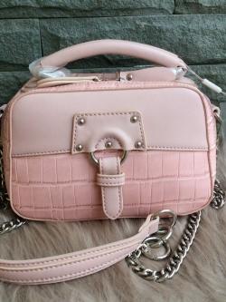 David Jones Women Crossbody Bag Serpentine Messenger (Pink) free ถุงผ้า