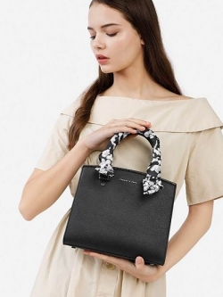 Charles & Keith Scarf Detail Top Handle Bag free ถุงผ้า