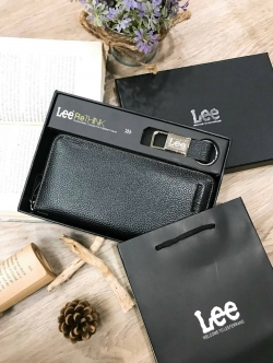 LEE Genuine Leather Long Wallet With Leather Key Chain free กล่องและถุงแบรนด์