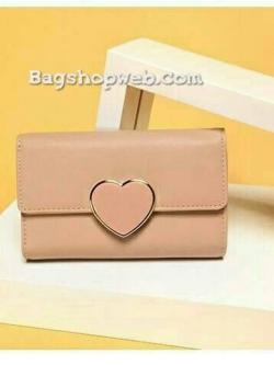 กระเป๋าสตางค์ใบยาว หนังนิ่มสีโอรส CHARLES & KEITH Wallet With Heart Closure เปิด/ปิด ด้วยตัวล็อค รูปหัวใจ
