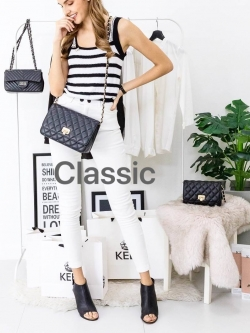 KEEP Spell Flat Bag Two Size (( classic size )) สีดำ