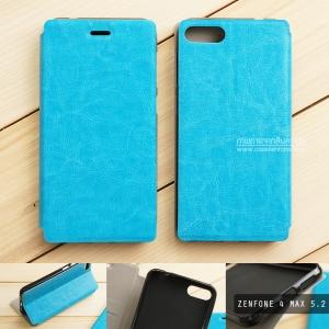 """เคส Zenfone 4 Max 5.2"""" (ZC520KL) เคสหนังฝาพับ + แผ่นเหล็กป้องกันตัวเครื่อง (บางพิเศษ) สีฟ้า"""