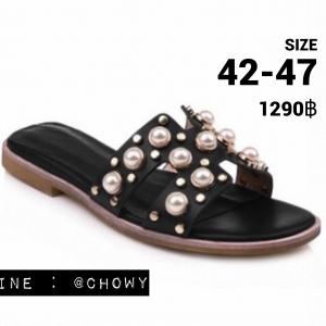 รองเท้าแตะไซส์ใหญ่ ไซส์ 42-47 ดีไซน์ H ประดับไข่มุกสุดหรู นำเข้าเกาหลี หนังแท้ สีดำ รุ่น KR0588