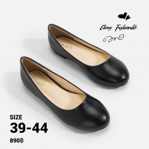 รองเท้าส้นแบนไซส์ใหญ่ 39-44 Flat Black Matte รุ่น CH0138