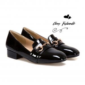 รองเท้าโลฟเฟอร์ไซส์ใหญ่ 43 Bit Glossy Heeled GUCCI Style สีดำ รุ่น KR0682