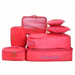 ชุดจัดกระเป๋าเดินทาง 7 ใบ จัดกระเป๋าเดินทาง ท่องเที่ยว ใส่เสื้อผ้า ชุดชั้นใน อุปกรณ์ห้องน้ำ กางเกงใน รองเท้า ถุงเท้า เครื่องสำอาง อุปกรณ์ไอที (Hot Pink)