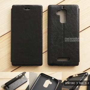 """เคส Zenfone 3 Max 5.2"""" (ZC520TL) เคสหนัง + แผ่นเหล็กป้องกันตัวเครื่อง (บางพิเศษ) สีดำ"""