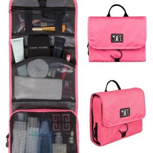 กระเป๋าใส่อุปกรณ์ห้องน้ำ คุณภาพสูง ใส่อุปกรณ์อาบน้ำ แขวนได้ สำหรับเดินทาง ท่องเที่ยว (สีชมพู)