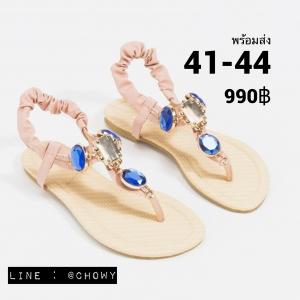 รองเท้าแตะไซส์ใหญ่ 41-44 Gem Ornament รัดส้น สีชมพู รุ่น KR0240