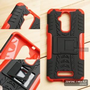 เคส Zenfone 3 Max ( ZC520TL ) 5.2 นิ้ว กรอบบั๊มเปอร์ กันกระแทก Defender สีแดง (เป็นขาตั้งได้)