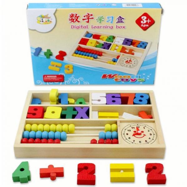 รูปภาพสินค้า ของเล่นไม้ลูกคิด เรียนรู้ตัวเลข การนับ บวกลบจำนวน และการบอกเวลา