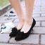 รองเท้าส้นเตี้ยไซส์ใหญ่ 44 Layered Bow Suede สีดำ รุ่น KR0680 thumbnail 8