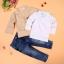 ชุดเด็กชายเซต 3 ชิ้น สูท เสื้อโปโลแขนยาว กางเกงยีนส์ขายาว thumbnail 3