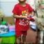 ชุดสีแดงเด็กโต เสื้อยืด+กางเกงขาสั้นเอวยางยืด สกรีนลายช้างพ่นน้ำ สำหรับเด็กวัย 3-8 ปี thumbnail 6
