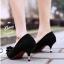 รองเท้าส้นเตี้ยไซส์ใหญ่ 44 Layered Bow Suede สีดำ รุ่น KR0680 thumbnail 9