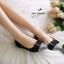 รองเท้าคัชชูส้นแบนไซส์ใหญ่ 41-48 Disco Bowtie กำมะหยี่ สีดำ รหัส KR0736 thumbnail 10
