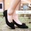 รองเท้าส้นเตี้ยไซส์ใหญ่ 44 Layered Bow Suede สีดำ รุ่น KR0680 thumbnail 7