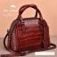กระเป๋าถือหนังแท้ จระเข้ สีแดงเข้ม งานเกาหลี มีสายสะพายยาว รุ่น BB0158 thumbnail 2