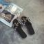 รองเท้าแตะไซส์ใหญ่ ไซส์ 42 ดีไซน์ H ประดับไข่มุกสุดหรู นำเข้าเกาหลี หนังแท้ สีดำ รุ่น KR0588 thumbnail 6