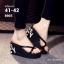 """รองเท้าแตะส้นเตารีดไซส์ใหญ่ 41-42 หูหนีบ 3"""" สีดำ LOVE รุ่น KR0601 thumbnail 1"""