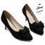 รองเท้าส้นเตี้ยไซส์ใหญ่ 44 Layered Bow Suede สีดำ รุ่น KR0680 thumbnail 5