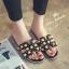 รองเท้าแตะไซส์ใหญ่ ไซส์ 42 ดีไซน์ H ประดับไข่มุกสุดหรู นำเข้าเกาหลี หนังแท้ สีดำ รุ่น KR0588 thumbnail 2