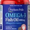 บำรุงสมองและหัวใจ Puritan's Pride Premium - Omega-3 Fish Oil 1000 mg - 100 Softgels