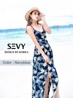 พร้อมส่ง ชุดเดรสเกาหลี Maxi dress งานน่ารักมากคะ ลายใบไม้ cool nature งานเป็นผ้าเนื้อดี สกรีนคมชัด