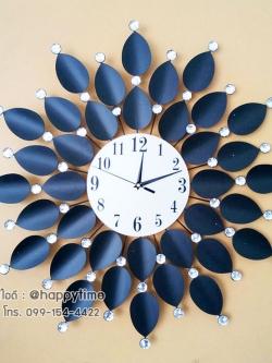 นาฬิกาติดผนัง Modern Style รุ่นใบโพธิ์ดำเลขอารบิก