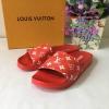 รองเท้าแตะ Lous vuitton Supreme สีแดง งานHiend 1:1